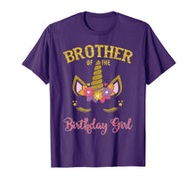 Load image into Gallery viewer, Brother Of The Birthday Girl Unicorn Matching Shirt