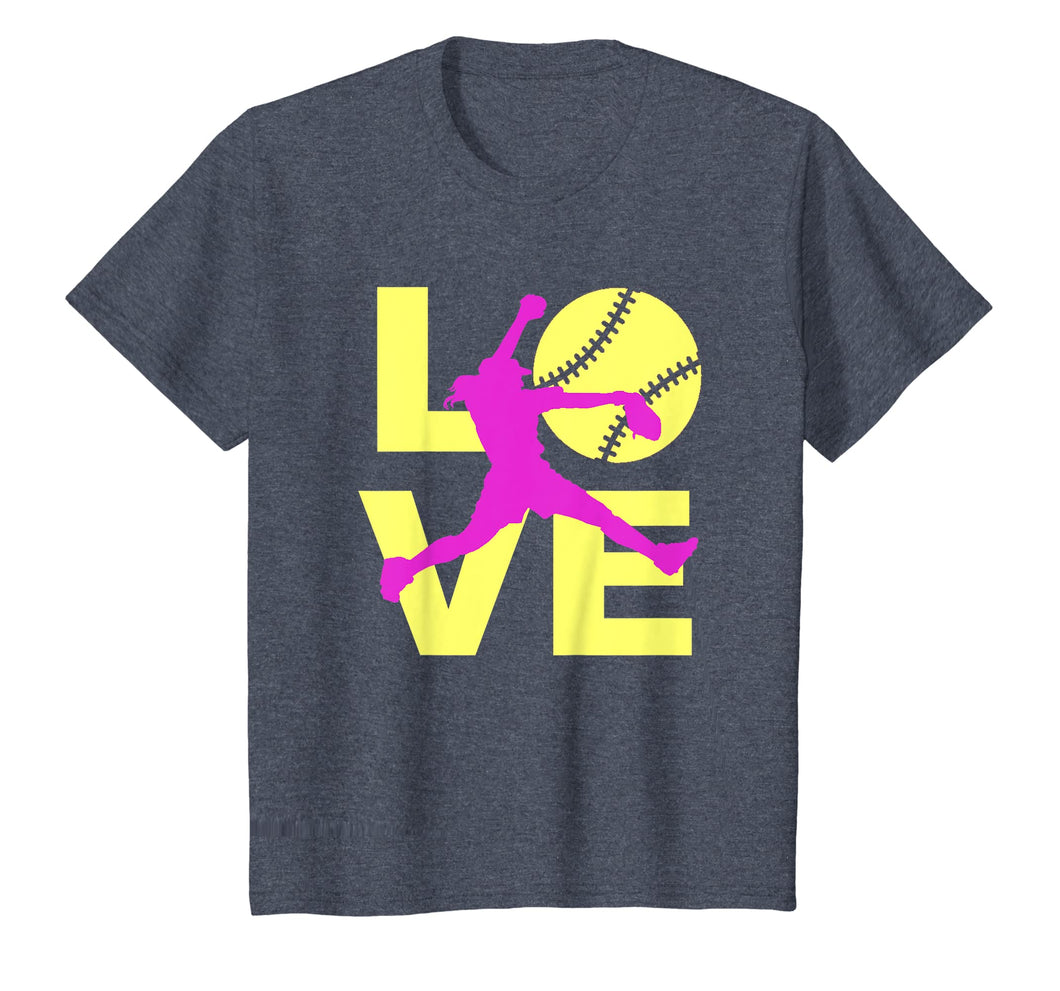 LOVE Softball Teen Girls Women T-shirt