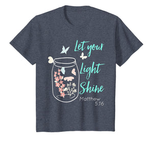 Let Your Light Shine Jar Flowers Butterfly T-Shirt