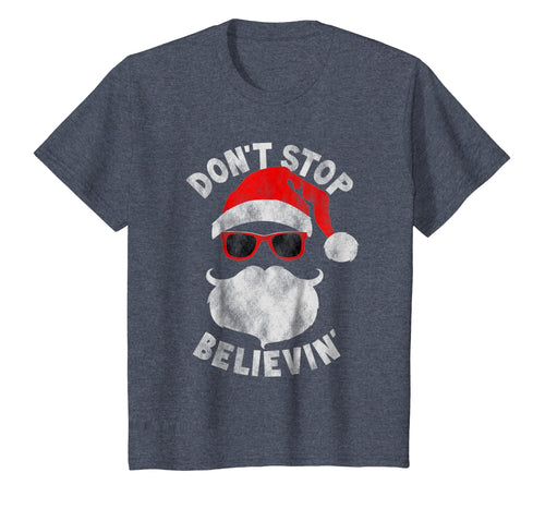 Don't Stop Believing Cool Shades Santa Christmas T-Shirt