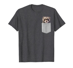 Animal in Your Pocket Funny Cute ferret peeking out t shirt