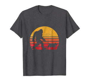 Bigfoot walking Pitbull Sunset Retro Vintage T-Shirt