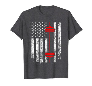 Barbell and American Flag Weight Lifting T-Shirt