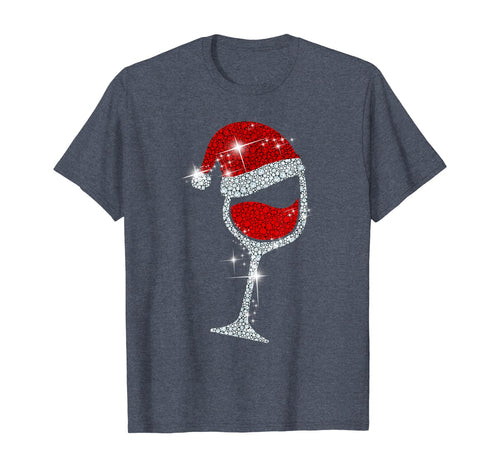 Wine Glasses Santa Hat Christmas Tee Funny Wine Lover Gift T-Shirt