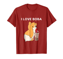 Load image into Gallery viewer, I Love Boba Funny Corgi Dog Bubble Tea T Shirt