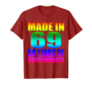 Made in 69 50 years of Awesomeness Watercolor T-Shirt