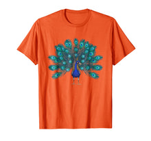 Load image into Gallery viewer, Blue Peacock Print T-Shirt Teal Feathers Clothes