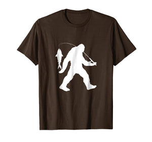 Bigfoot Fishing Fisherman T-Shirt Funny Sasquatch Gift