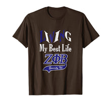 Load image into Gallery viewer, Living My Best Life - Zeta Blue Phi Beta 1920 Sorority Shirt