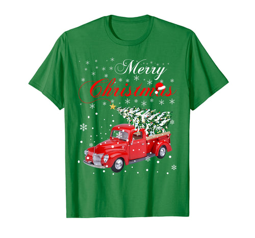 Red Truck Merry Christmas Tree Vintage Red Pickup Truck Tee