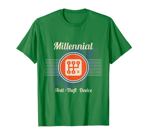 Automotive Millennial T-Shirt Gear Shift, Anti Theft Vehicle