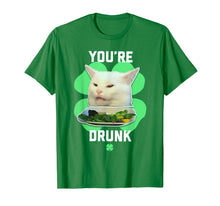 Load image into Gallery viewer, You're Drunk Confused Cat Meme St Patrick's Day Smudge T-Shirt-685930