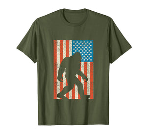 Bigfoot Sasquatch I Believe Tshirt with USA Distressed Flag