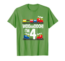 Load image into Gallery viewer, Boys WOOooOOOH! I'm 4 Trains Birthday T-Shirt for Toddlers