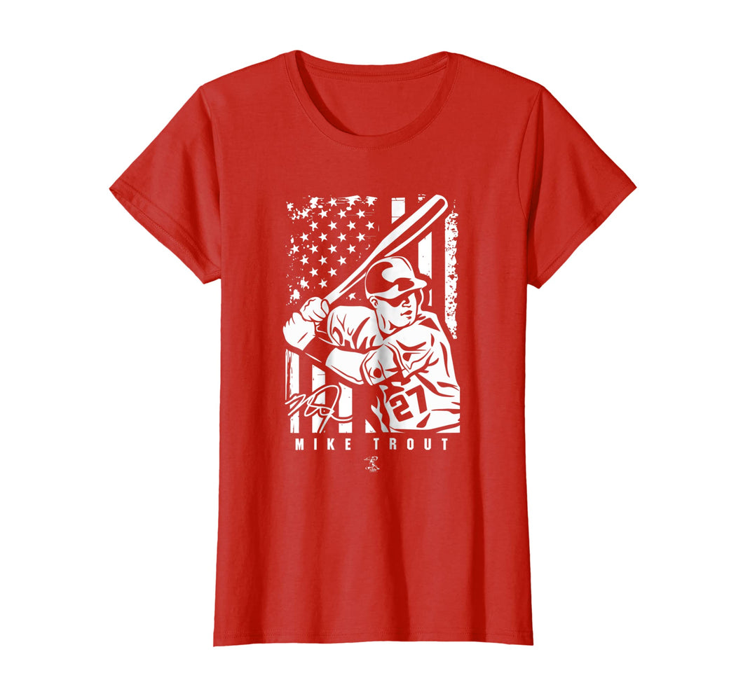 Mike Trout Player Illustration Flag T-Shirt - Apparel