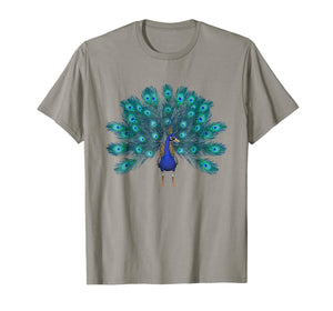 Blue Peacock Print T-Shirt Teal Feathers Clothes