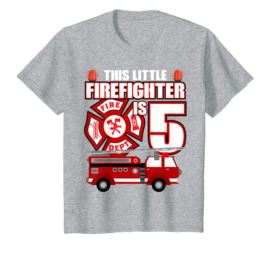 Kids 5 Year Old Firefighter Birthday T Shirt Fire Truck 5th Gift