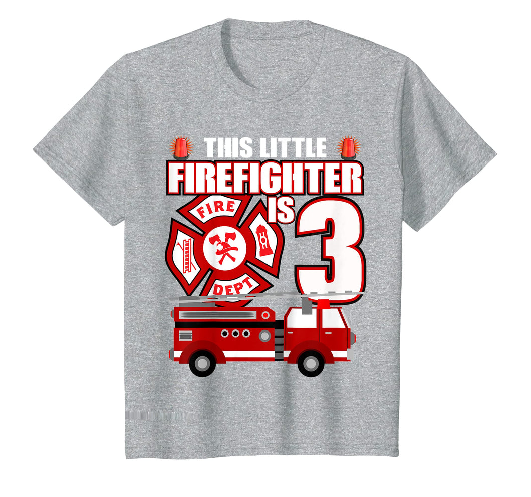 Kids 3 Year Old Firefighter Birthday T Shirt Fire Truck 3rd Gift