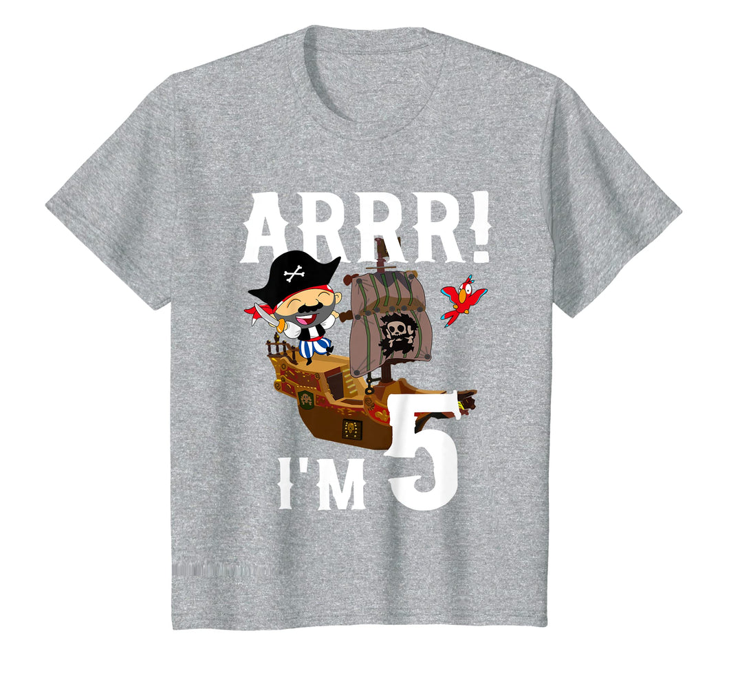 Kids 5 Year Old Pirate Birthday Shirt ARR 5th Party Gift