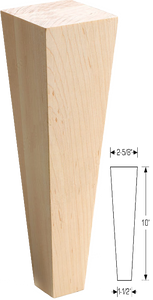 "RICH_SQTLEG28 - Square Tapered Wood Leg - 2 5/8"" x 2 5/8"" x 10"" (Telluride - Blue Jeans)"