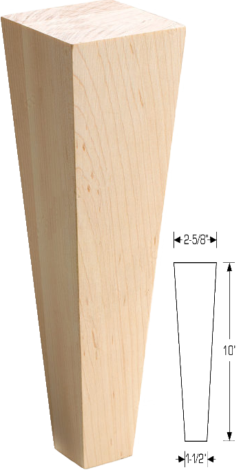 RICH_SQTLEG28 - Square Tapered Wood Leg - 2 5/8