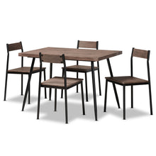 Load image into Gallery viewer, Contemporary Walnut Finished Wood And Black Metal 5-Piece Dining Set