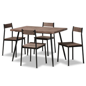 Contemporary Walnut Finished Wood And Black Metal 5-Piece Dining Set