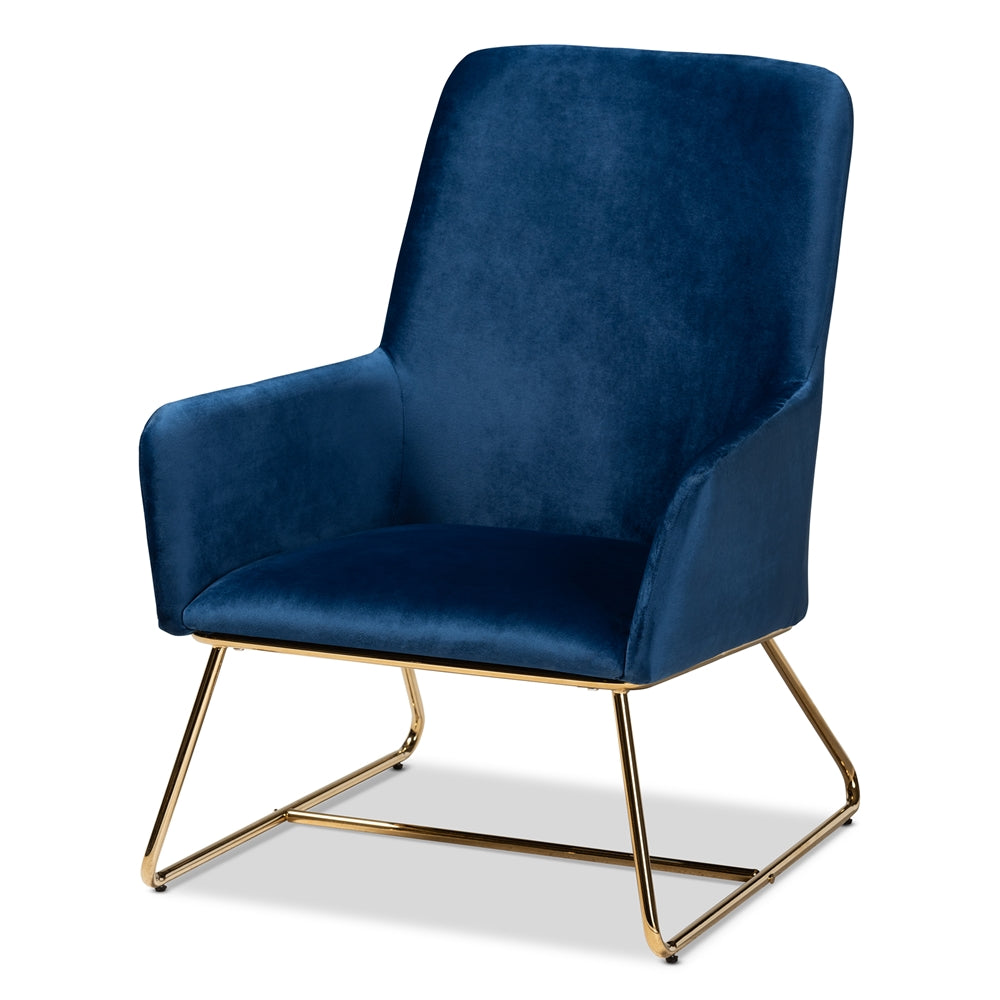 Glam And Luxe Navy Blue Velvet Fabric Upholstered Gold Finished Armchair
