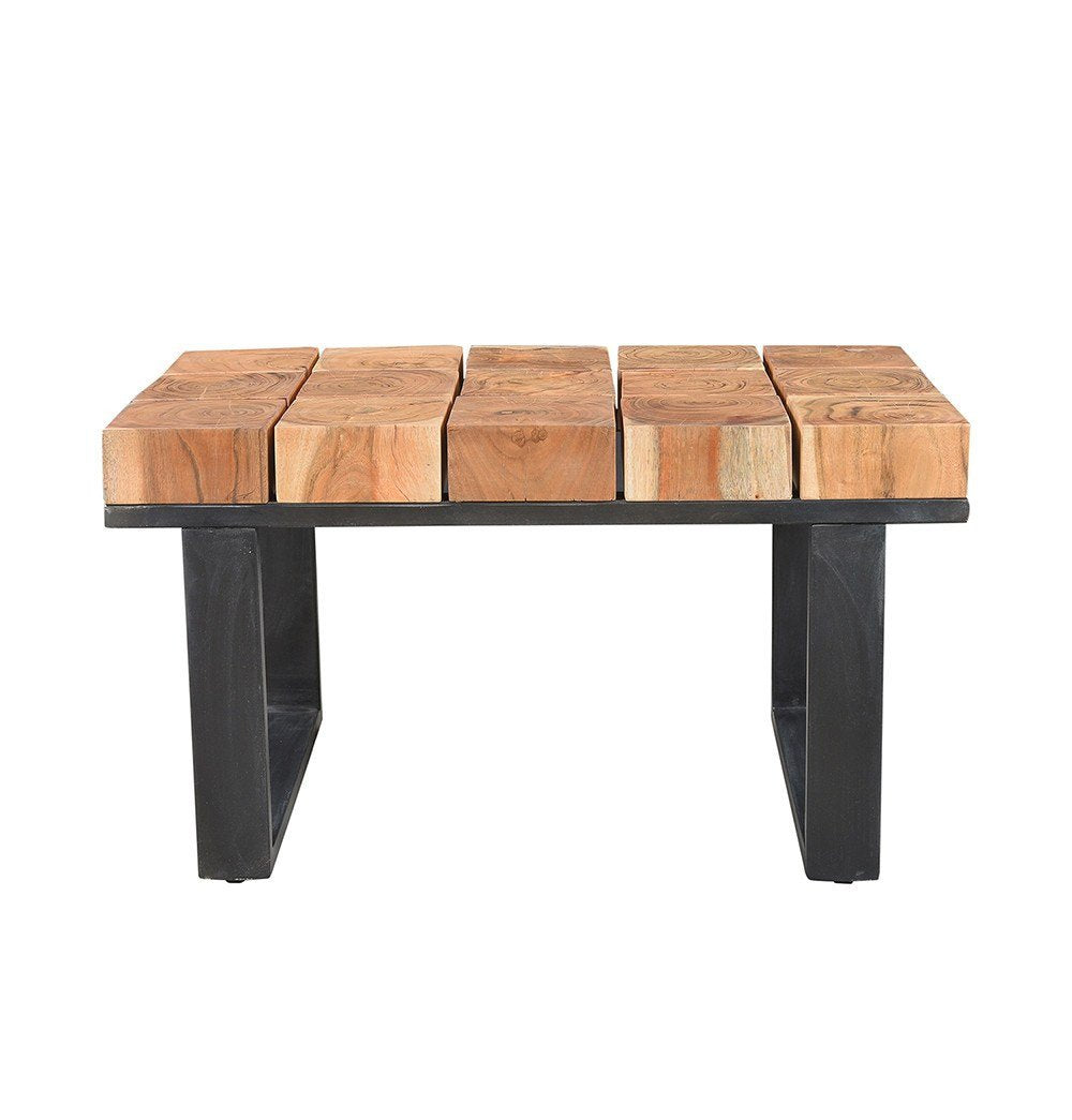 Artisan Crafted Solid Acacia Wood and Aged Iron Coffee Table