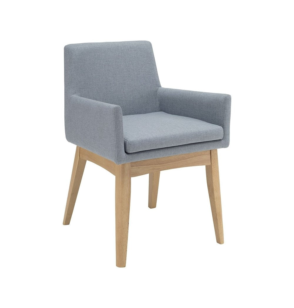 Solid oak Chanel Dining Armchair - Aquamarine & Natural