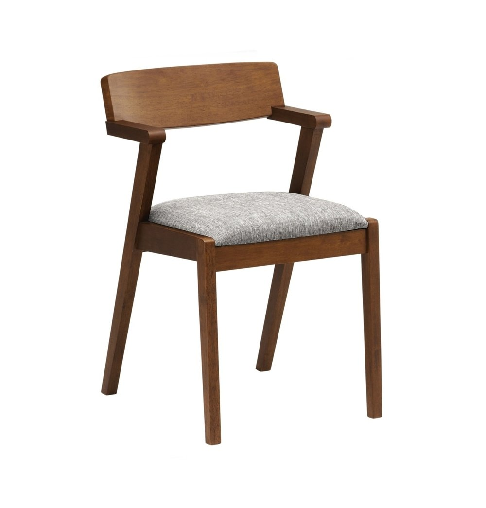 Malaysian Oak Modern Dining Chair - Cocoa & Pebble