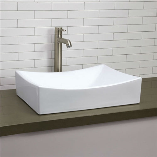Modern Rectangular White Ceramic Vessel Bathroom Sink with Curved Interior