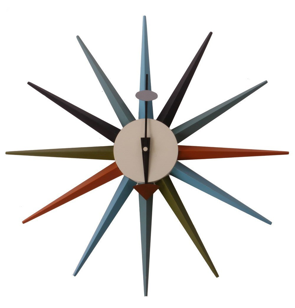 Sunburst Clock - Multicolor - Reproduction