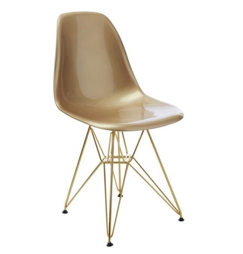 Contemporary Chair- Gold Seat with Gold Metal Legs
