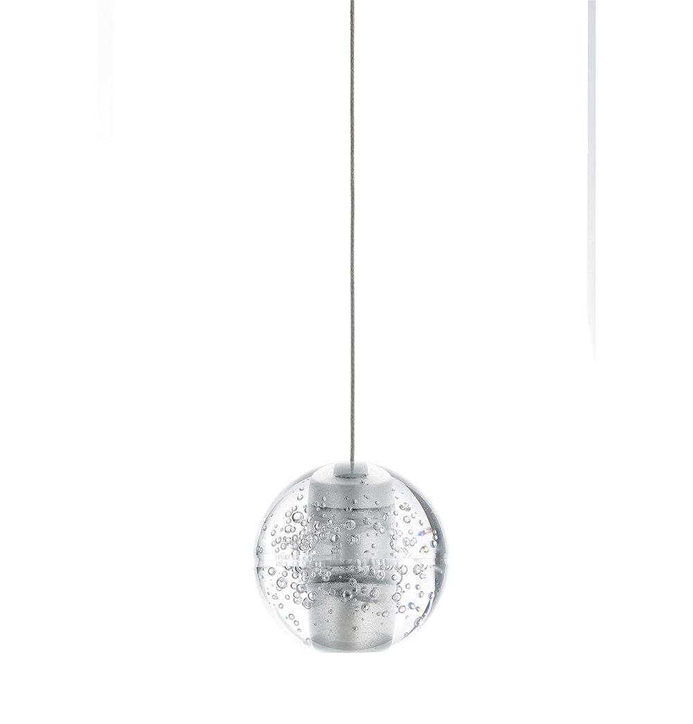 Transparent Solid Glass Ball Single Pendant Lamp