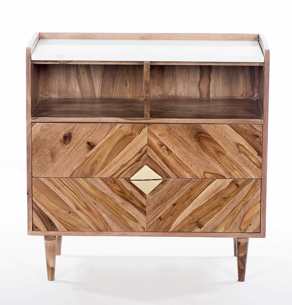 Artisan Crafted Wood & Marble Sideboard