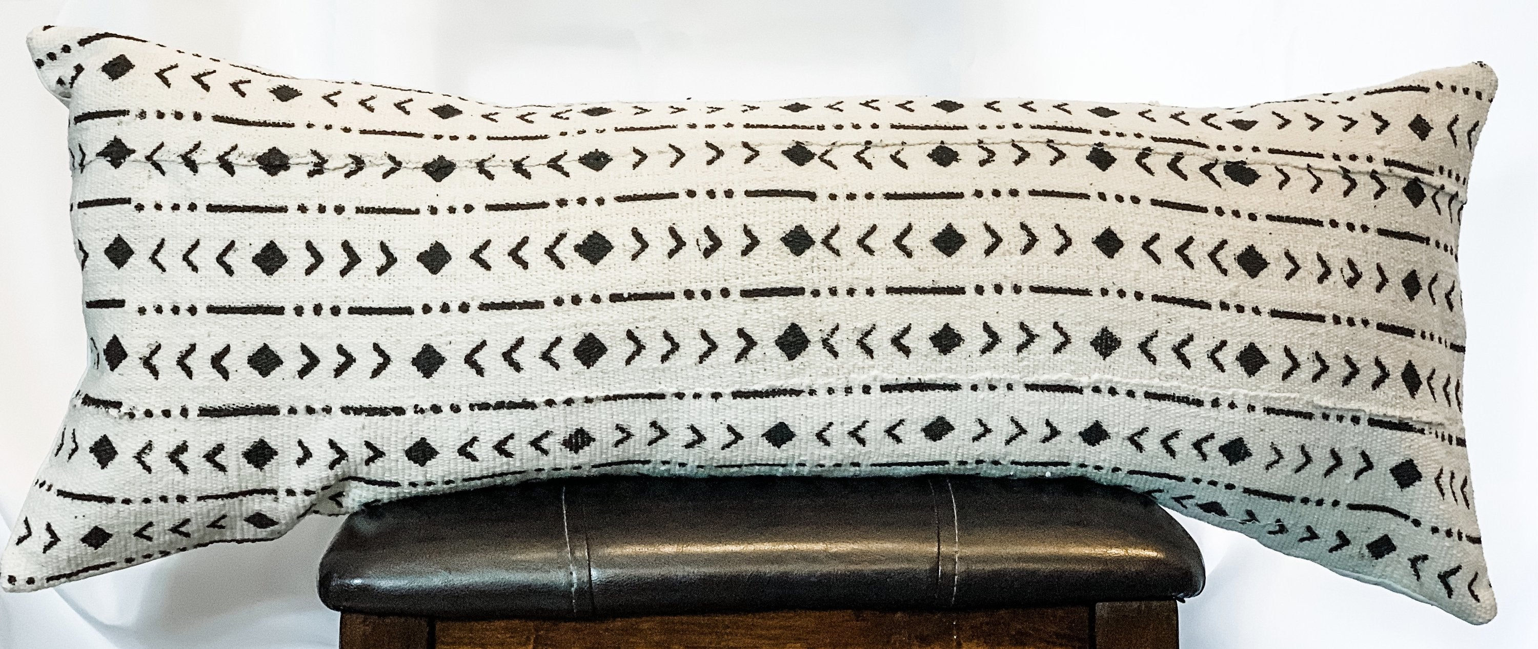 Mudcloth Black Rhombs on White Pillow Cover
