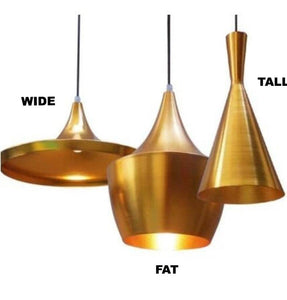 Contemporary Shade Tall Pendant Lamp - Gold