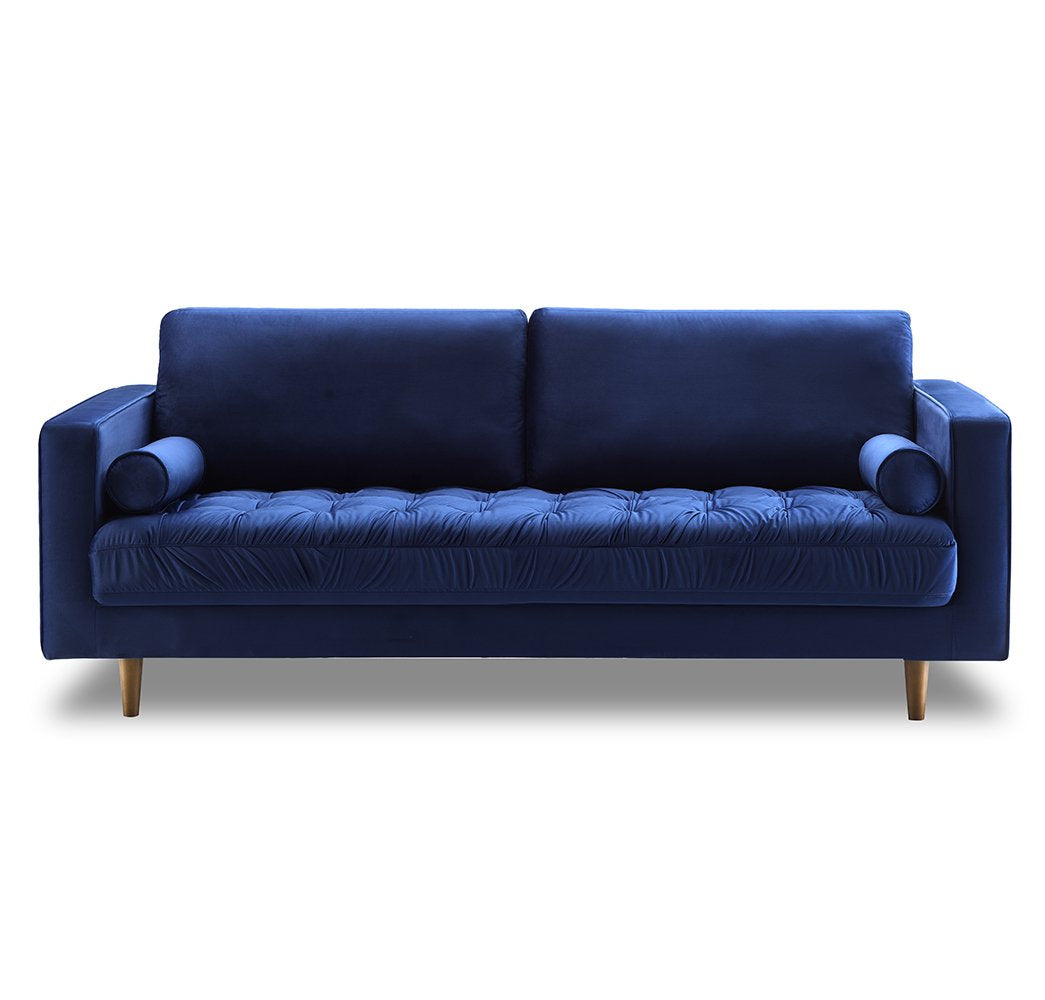 Tufted Velvet 3-Seater Sofa - Blue