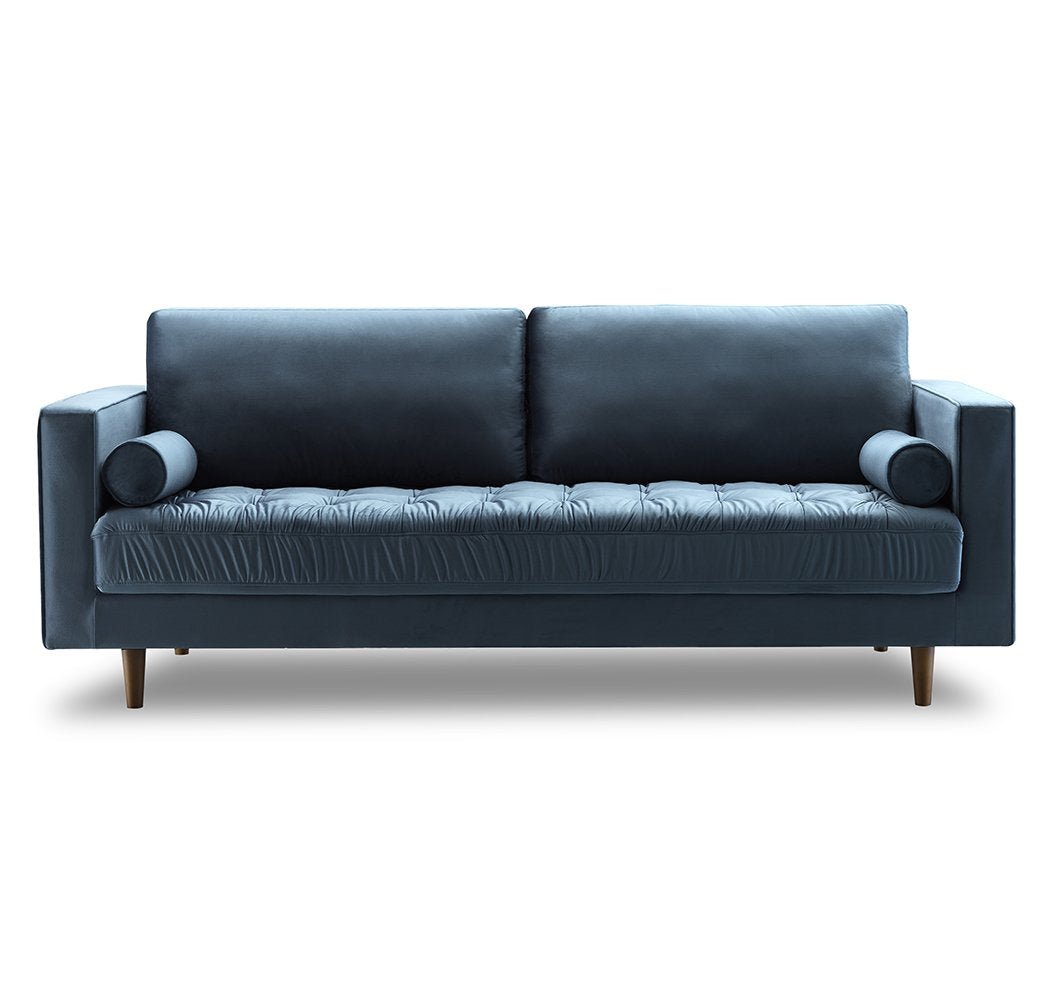 Blue Velvet Tufted Velvet 3-Seater Sofa - Eucalyptus wood