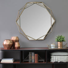 "Load image into Gallery viewer, 31.5"" X 3.15"" X 29.53"" Gold Octagon-Shaped Wall Mirror"