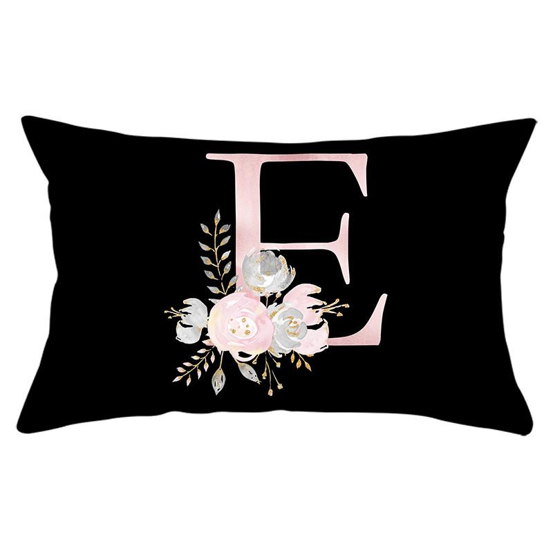 26 Alphabet Flower Throw Pillowcase for Home Decorative Pillows Covers