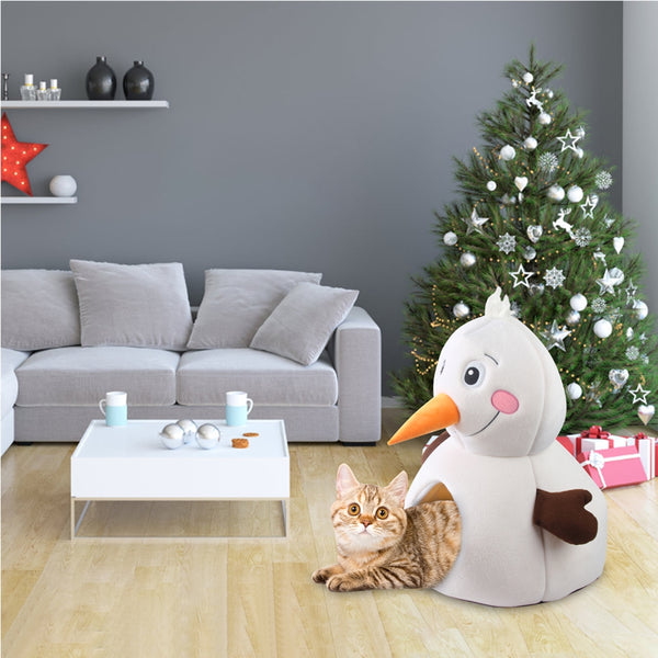 PAWISE Christmas Snowman Cat Bed Soft Kitty Tent Pet Cave for Small Cats