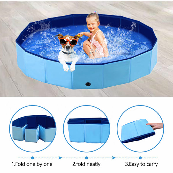 PAWISE Swimming Pool for Dogs Outdoor Foldable Pet Dog Bath Tube Collapsible