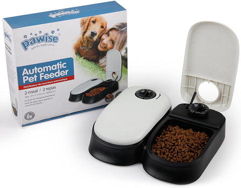 PAWISE Automatic Pet Feeder for Dogs, Cats and Small Animals,Auto Pet Food Dispenser (2-meal)