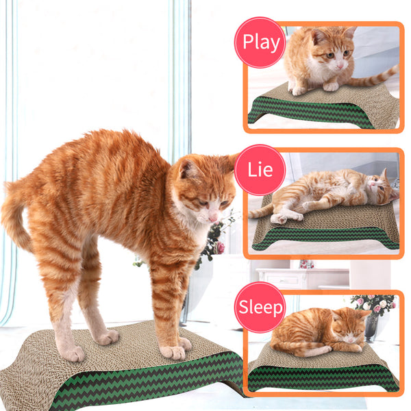 PAWISE Cat Scratcher Cardboard Reversible Kitty Scratching Pad Lounge Interactive Toy