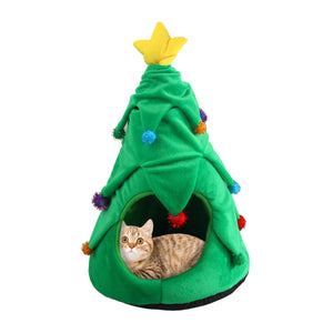 PAWISE Christmas Tree Cat Cave Bed, Kitten Cozy Tent for Indoor Cats