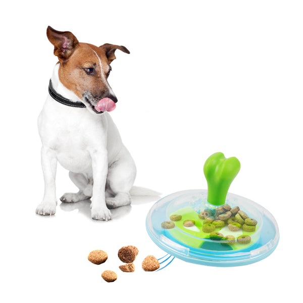 PAWISE Interactive Dog Treat Spinner Toy, Treat Dispenser Slow Feeder Toy for Dogs