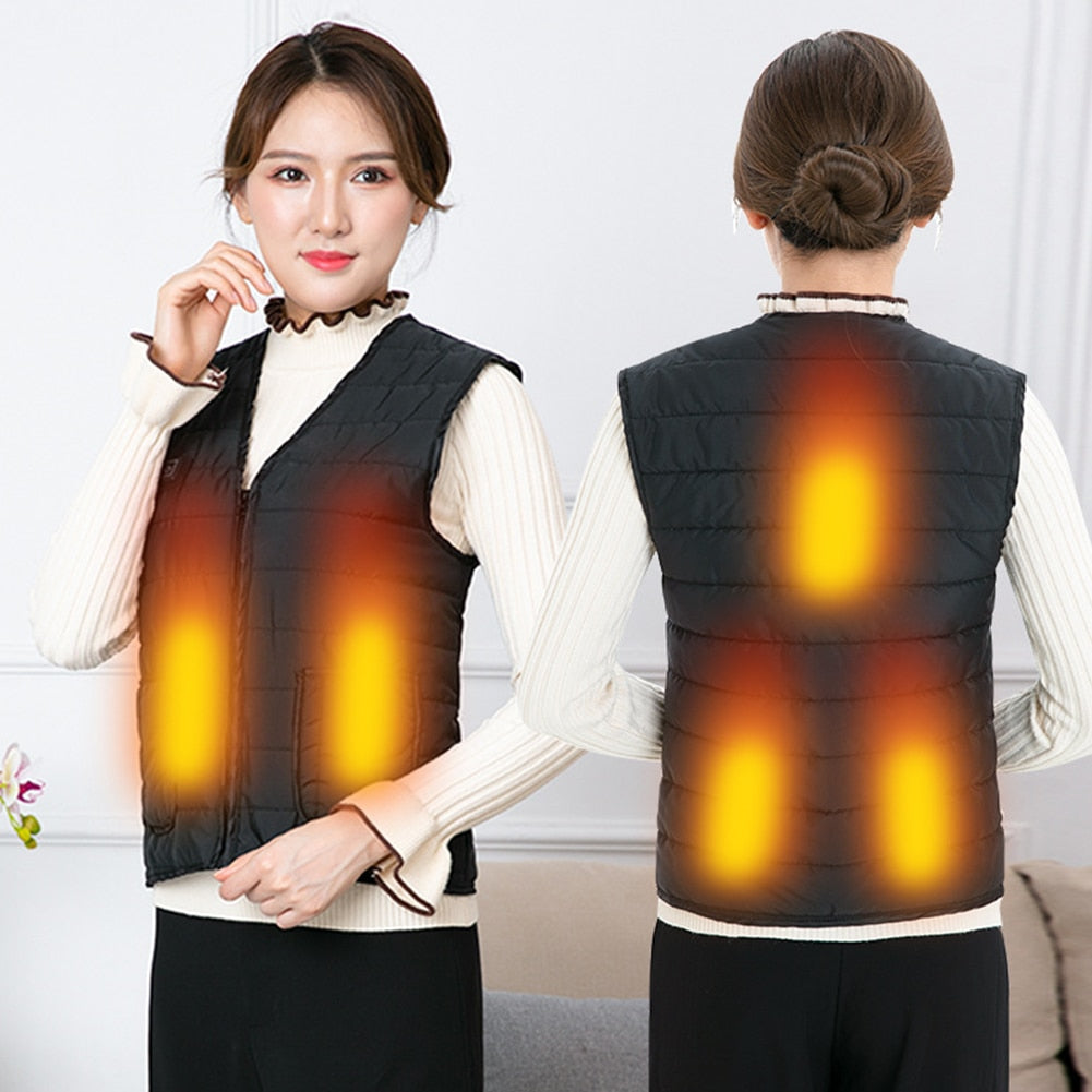 Women Men Heating Vest Adjustable Waistcoat USB Charging Electric