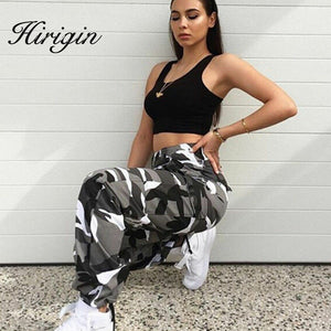 New Women Camo Cargo High Waist Hip Hop Trousers